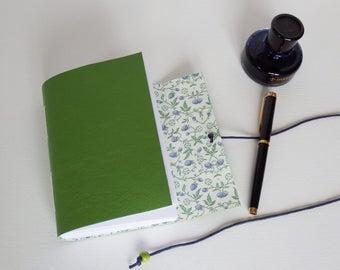 Wild Blue Berry Journal, Spring Journal, Hand Bound Journal, Bucket List, Gratitude Journal, Green Leather Journal, green leather notebook