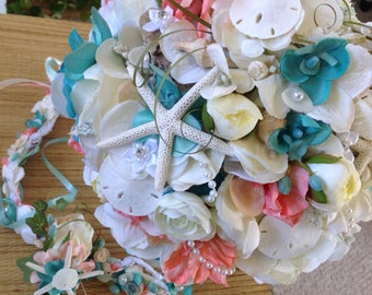 Seaside Bridal Bouquet Sweet Peas Delphinium Ranunculus Hydrangea Roses Diamonds Pearls and More Seashells than Ever