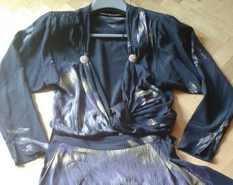 1980s Vintage  PANCALDI & B. Crop Top and Wrap Skirt  Set 2 piece dress - PEACOCK print, blue-black silk,  S circa, 10 uk circa, 6 us circa.