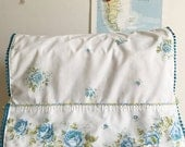 Aqua Blue Floral Vintage Pillowcase Sewing Machine Cover/ Dust Cover with Aqua Poms + Ties