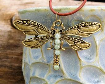 Dragonfly Pendant Necklace Jewelry - Aquamarine or Lapis Lazuli Stone Crystal Beads - Antiqued Bronze Leather Stone Hippie Gypsy Boho Chic