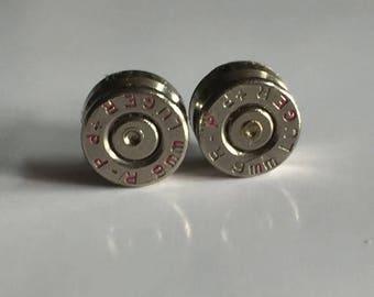 30% OFF SALE Bullet Earrings . 9mm Nickel plated brass Earrings - Spent Casing