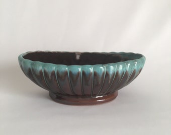 Vintage Planter, Drip Glaze Planter, Blue and Brown Oblong Planter, Made in Japan, Ceramic Planter, Succulent Planter, Vintage Dish,