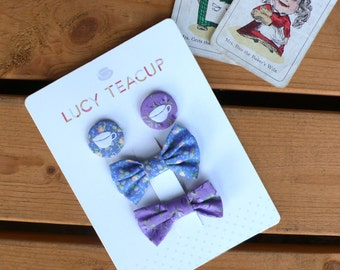 Hair-Bow & Pin Button Badge Accessories Packaged Set- lilac and blue hair clip and fabric teacup badge. Vintage 'Laura Ashley' floral fabric