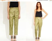 50% OFF ENTIRE STORE Vintage 60s Brocade Green Gold High Waist Pants // Bottoms // Metallic // Xs