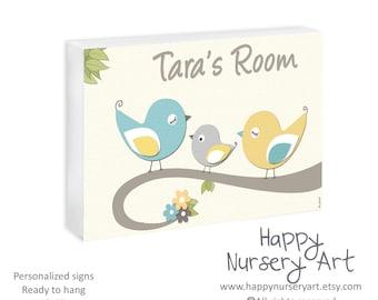 Personalized Baby Name Door Sign Unisex Boys Girls Babies Shower Gift Decor Birds Bedroom Decor Artwork Newborn Plaque Toddler Room Art
