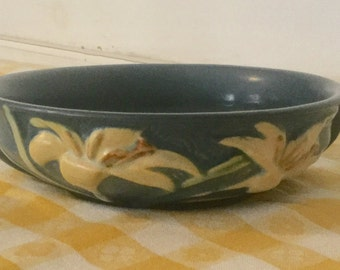Vintage Antique Blue Roseville Console Bowl,Lilys,472 6