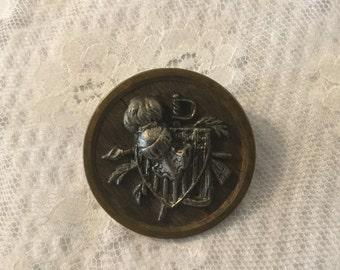 "Large Antique Metal Picture Button 1.5"",Knight and Sheild"
