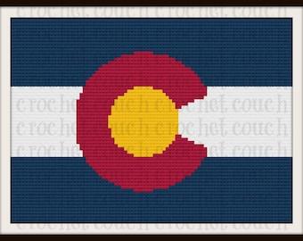 C2C Graph, Colorado Flag, Afghan, C2C Crochet, Graph, & Written Word Chart, Colorado Graph, Colorado C2C