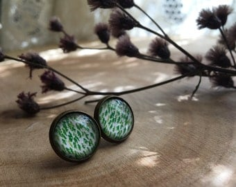 EVERGREEN forest inspired woodland tree line glass pattern studs nickel free earrings