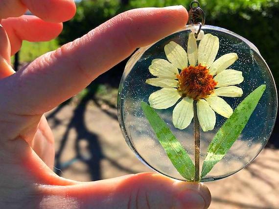 Preserved Zinnia Botanical Specimen Resin Pendant Necklace