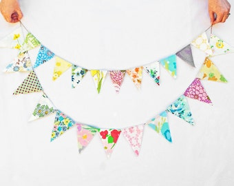 bunting garland banner, bunting flags, pennant flags banner, fabric garland banners, party bunting, pennant banner, greenbugmarketplace