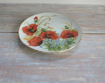 Small poppy decorative plate- Free Shipping