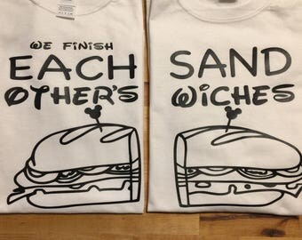 Disney frozen We finish each others sandwiches set of 2  t shirt cute saying