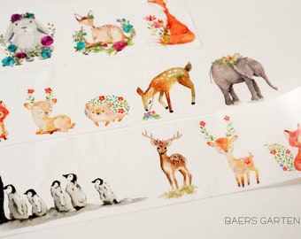 Washi Tape Cute Critters - Watercolor Washi Tape Woodland Animals