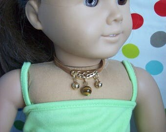 Jewelry for 18 inch Doll Modern Choker style necklace with Tiger's Eye, 2 gold beads, double tan strand.