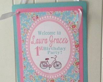 SHABBY CHIC BICYCLE Vintage Happy Birthday or Baby Shower Door or Welcome Sign - Pink Aqua - Party Packs Available
