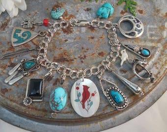 STERLING NATIVE AMERICAN Indian  turquoise vintage charm bracelet