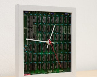 Desk clock for a techie, unique clock, recycled Computer clock, green circuit board clock, gift for men - ready to ship c3042