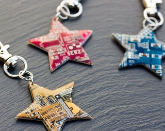 Star keychain - repurposed circuit board keychain, bag tag, unique gift, urban style, custom color keychain