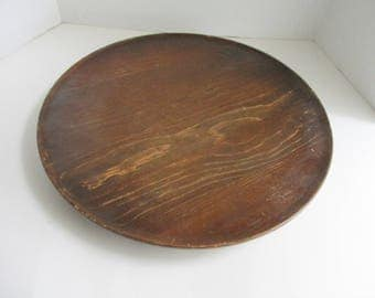 "Vintage Lazy Susan Large 16"" Turnaround Centerpiece Rustic Solid Wood"