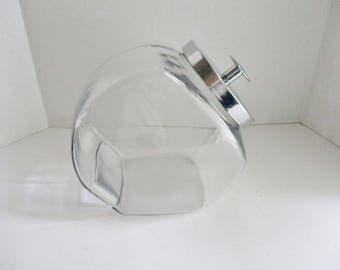 Vintage Candy Jar General Store Glass Jar Slant Jar with Lid Cookie Jar