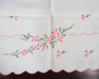 """16 x 32"""" White Linen Runner  Cross Stitched Flowers"""