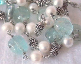 Aquamarine Byzantine, pearls & sterling silver. Ancient Inspirations, handcrafted necklace