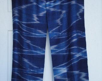 Indigo Scarf - Hand Woven - Organic Naturally Dye - Blue - Bohemian Ikat - Winter - Christmas Gift - Holiday