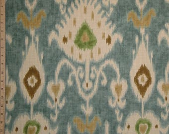Kravet IKAT - Decorative Pillow Cover - Aqua/Teal Brown Green Accent Pillow - Chair Pillow - Sofa Pillow - Custom Pillow