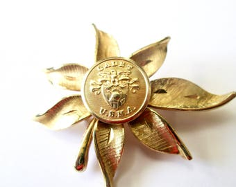 WEST POINT vintage button brooch, better than a corsage. One of a kind