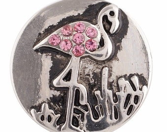 1 PC 18MM Flamingo Bird Pink Rhinestone Silver Tone Candy Snap Charm KC9630 CC2867