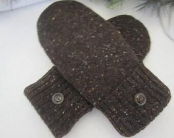 Women's lambswool mittens dark brown tweed fleece lined size medium RTS