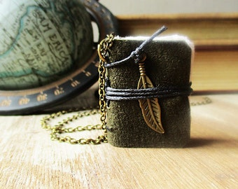 Book necklace jewelry  journal leather book lover gift  hand stitched journal necklace eco friendly  feather jewelry for women