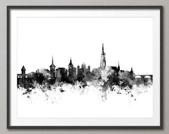 Bern Skyline, Bern Switzerland Cityscape Art Print (2687)