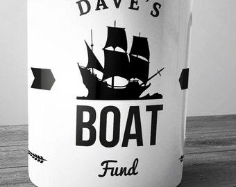 Personalised Boat Fund Ceramic Money Box Piggy Bank Hand Printed xmas christmas yacht ship barge seaman sails mast sailor pirate ship ocean