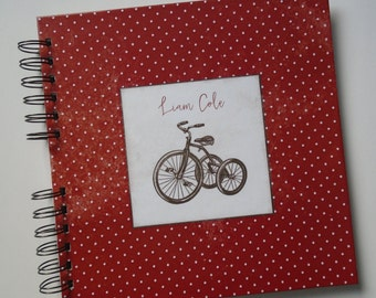 Baby Book |  Baby Memory Album | Red Tricyle Vintage Polka dot Modern Baby Memory Book Keepsake Baby Album