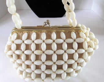 White Lucite Purse  - Hand Beaded Bag - Made In Italy - Original Tag