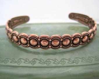 Native American  Cuff  - Copper Bracelet - Stamped Symbols - Mid Century