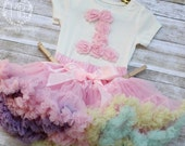 Pink Pastel Colorful Baby Girl First Birthday Outfit/ Flower Onesie and Fluffy Skirt/ Egg Shell White and Pastel Multi Color Skirt Headband
