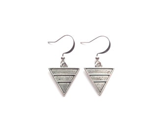 Triangle Earrings, Geometric earrings, Silver Earrings, Minimalist Earrings, Boho Earrings, Bohemian Jewelry, Boho Jewelry, Hippie Earrings