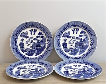 Vintage Japanese Blue Willow Dinner Plates Set of Four Blue Transferware Chinoiserie Chic Asian Decor