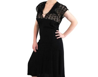40%OFFSALE 1940s Dress Pin Up WW2 Sweetheart Black Party Lace Vintage Wedding
