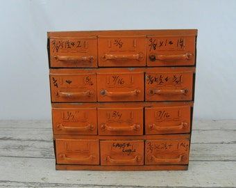 Vintage Equipto 12 Drawer Industrial Parts Bin Cabinet