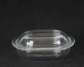 Vtg Pyrex Clear Oval Casserole Refrigerator Dish with Lid 602 - B and 602 - C