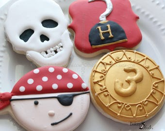 Pirate Cookies, Pirate Birthday Party favors, Skull Cookie, Captain Hook Cookie, Gold Coin Cookie, Pirate Party Favors, Custom Cookies,