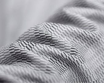"""ON SALE Italian Silk knitted Fabric, gray striped knitted silk made in Italy, 59"""" 32 mm for dresses, men's T-shirts, blouse, tops, BTY"""