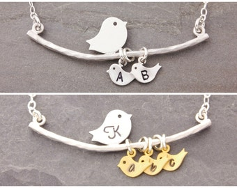 Mother Necklace, 1-6 kids, mom necklace, gifts for mom, bird necklace, single mother, birds on a branch, personalized, single mom, N1