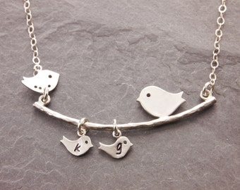 Gifts for Grandma, 1-6 kids, bird necklace, gifts for mom, grandma necklace, nana, grandmother, mother daughter, mom necklace, N1