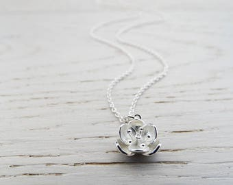 Silver Lotus Flower Necklace - Sterling Silver